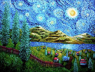 Village Under The Stars Art Print