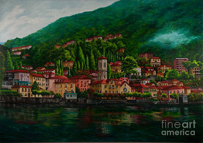Lake Como Painting - Village View On Lake Como  by Charlotte Blanchard