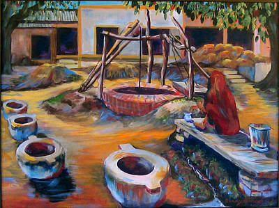 Painting - Village Well by Art Nomad Sandra  Hansen