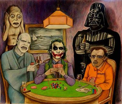 Villains Playing Poker Art Print by Seth Malin