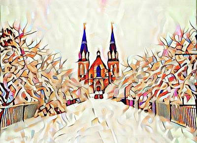 Radnor Photograph - Villanova Cathedral Watercolor by Bill Cannon
