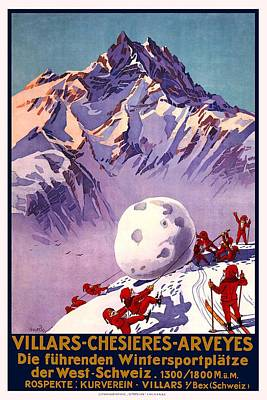 Elf Mixed Media - Villars - Chesieres - Arveyes - Retro Travel Poster - Vintage Poster by Studio Grafiikka
