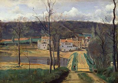 Rural Buildings Painting - Ville Davray by Jean Baptiste Camille Corot