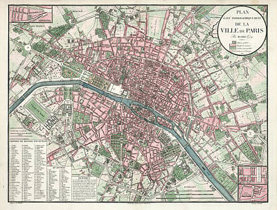 The Bunsen Burner - Ville de Paris - Historical Map of the City of Paris, 1821 - Antique Maps  by Studio Grafiikka