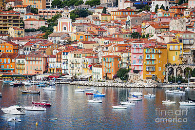 Harbor Photograph - Villefranche-sur-mer View In French Riviera by Elena Elisseeva