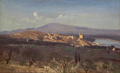 Outlook Painting - Villeneuve-les-avignon by Camille Corot