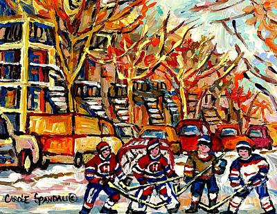 Painting - Villeneuve Steps Street Hockey Montreal Memories Row Houses Winter City Scene Canadian Hockey Art by Carole Spandau