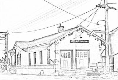 Photograph - Villisca Ia Train Depot Sketch by Edward Peterson