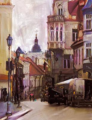 Digital Art - Vilnius Old Downtown Street by Yury Malkov