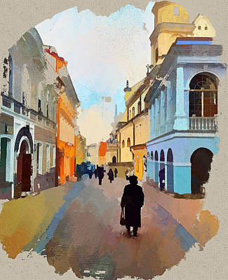 Old Town Digital Art - Vilnius Old Town Start by Yury Malkov