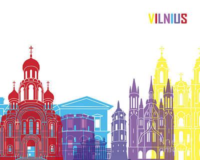 Vilnius Painting - Vilnius Skyline Pop by Pablo Romero