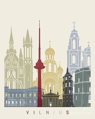 Vilnius Painting - Vilnius Skyline Poster by Pablo Romero