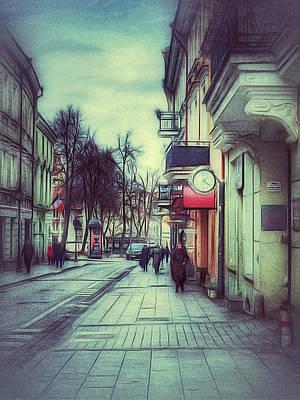 Digital Art - Vilnius Town Street 002 by Yury Malkov
