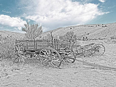Photograph - Vinage Wooden Wagon Black And White by Jennie Marie Schell