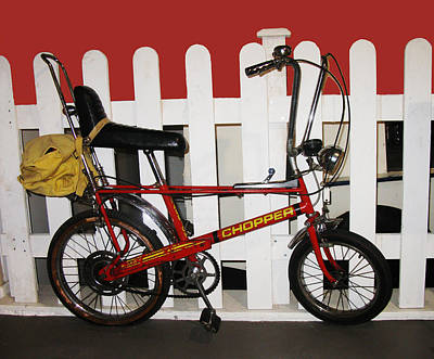 Vintage 1970s Bike With Rucksack  Art Print by Tom Conway