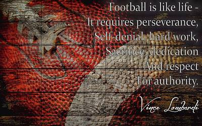 Champion Mixed Media - Vince Lombardi Football Quote Barn Door by Dan Sproul