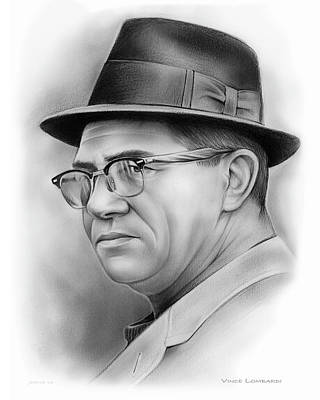 American Football Drawing - Vince Lombardi by Greg Joens