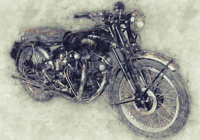 Mixed Media - Vincent Black Shadow 1 - Standard Motorcycle - 1948 - Motorcycle Poster - Automotive Art by Studio Grafiikka