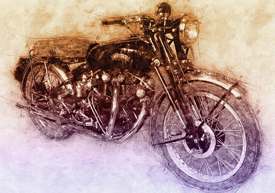 Mixed Media Royalty Free Images - Vincent Black Shadow 2 - Standard Motorcycle - 1948 - Motorcycle Poster - Automotive Art Royalty-Free Image by Studio Grafiikka
