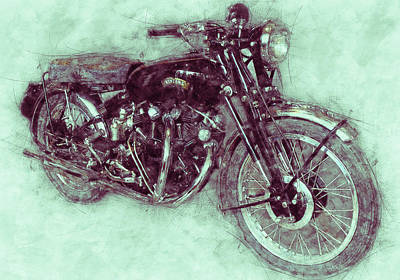 Mixed Media Royalty Free Images - Vincent Black Shadow 3 - Standard Motorcycle - 1948 - Motorcycle Poster - Automotive Art Royalty-Free Image by Studio Grafiikka