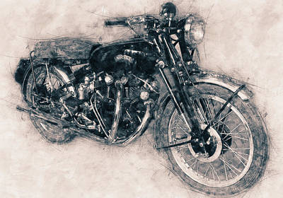 Mixed Media - Vincent Black Shadow - Standard Motorcycle - 1948 - Motorcycle Poster - Automotive Art by Studio Grafiikka