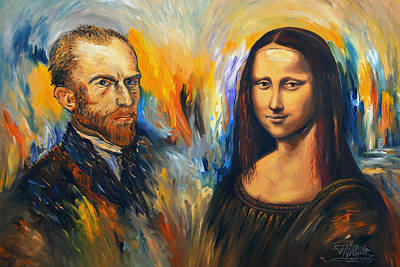 Vincent Meets Mona Lisa Xl 1 Art Print by Peter Nottrott