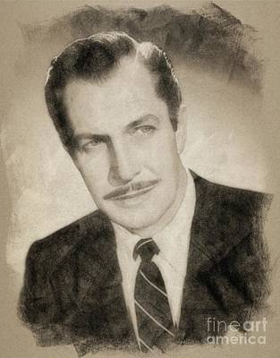 Musicians Drawings - Vincent Price, Hollywood Legend by John Springfield by Esoterica Art Agency