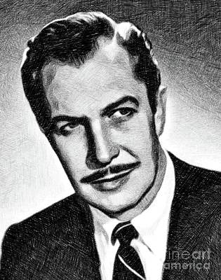 Musicians Drawings - Vincent Price, Vintage Actor by JS by John Springfield