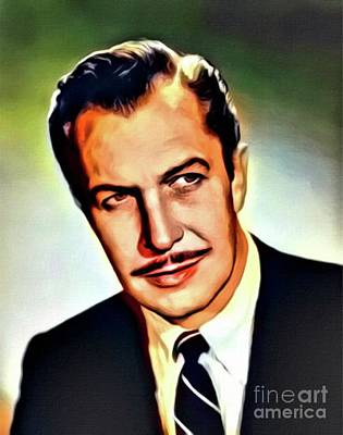 Vincent Price, Vintage Actor. Digital Art By Mb Art Print by Mary Bassett
