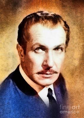 Vincent Price Painting - Vincent Price, Vintage Hollywood Actor by John Springfield
