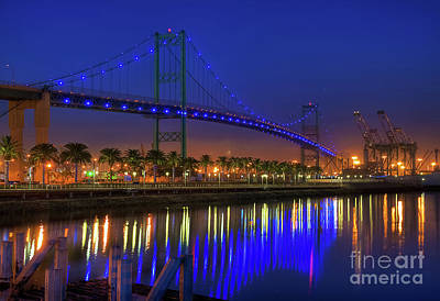 Vincent Thomas Bridge Art Print by Eddie Yerkish