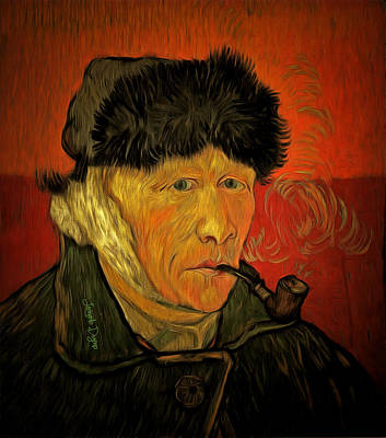 Black Background Painting - Vincent Van Gogh By Van Gogh Revisited by Leonardo Digenio
