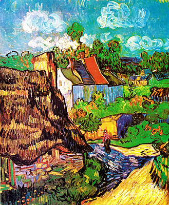 Vincent Van Gogh Houses At Auvers  Art Print by Pg Reproductions