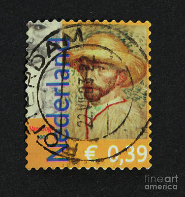 Impressionism Photos - Vincent van Gogh on a postage stamp by Patricia Hofmeester