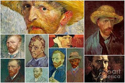Painting - Vincent Van Gogh Self Portrait Collage by Celestial Images
