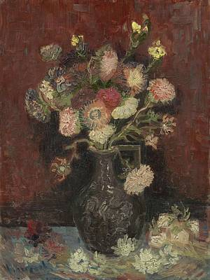 Painting - Vincent Van Gogh, Vase With Autumn Asters by Artistic Panda