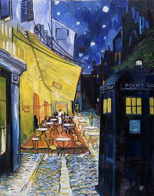 Tardis Painting - Vincent's Cafe With Tardis by Theresa Pisani
