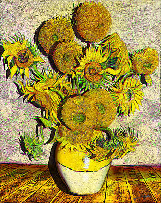 Still Life Drawings - A Modern Look at Vincents Vase with 15 Sunflowers by Jose A Gonzalez Jr
