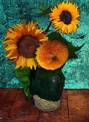 Sunflowers Drawings - Vincents Sunflowers 2 by Jose A Gonzalez Jr