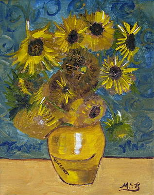 Vincents Sunflowers Original by Maria Soto Robbins