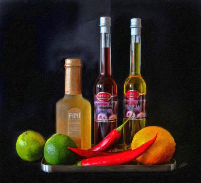 Vinegar Oil Fruit And Peppers Art Print