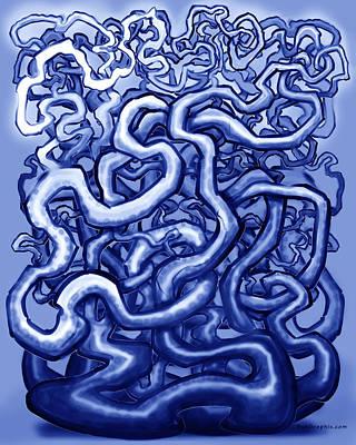 Blueish Digital Art - Vines Of Blue by Kevin Middleton