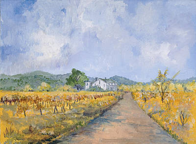 Vineyard Digital Art - Vineyard Farmhouse by Virginia McLaren