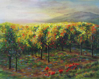 Napa Valley Vineyard Painting - Vineyard Glow by Becky Chappell