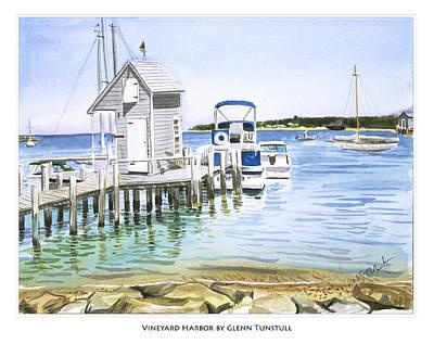 Painting - Vineyard Harbor Poster by Glenn Tunstull