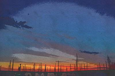 Mixed Media - Vineyard Haven Harbor Pano Dawn 3 by Jeffrey Canha