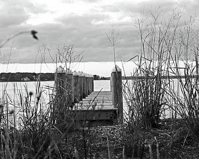 Vineyard Haven Pier Cape Cod Martha's Vineyard At Sunset Black And White Art Print