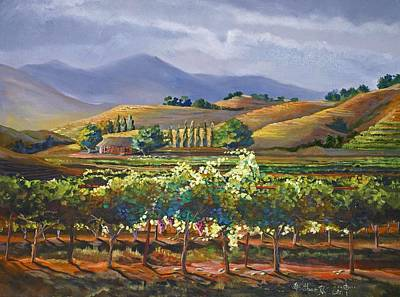 California Vineyard Painting - Vineyard In California by Heather Coen