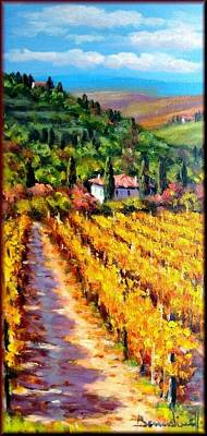 A Summer Evening Landscape Painting - Vineyard In Tuscany by Mario Bendinelli