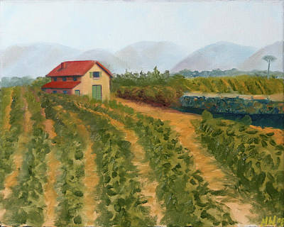 Tuscan Sunset Painting - Vineyard Landscape Oil Painting by Mark Webster